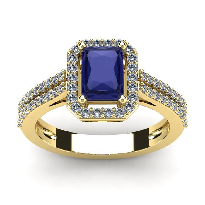 1 1/2 Carat Emerald Cut Tanzanite and Halo Diamond Ring In 14 Karat Yellow Gold