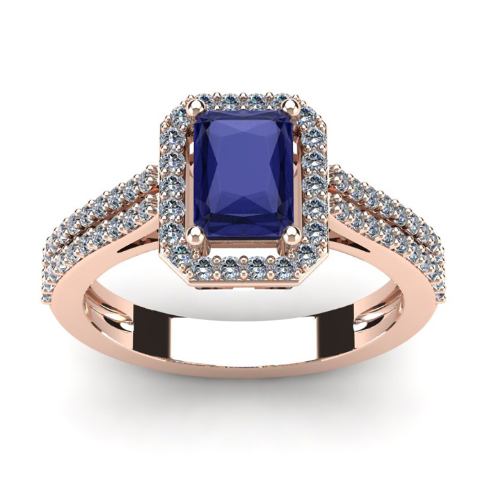 1 1/2 Carat Emerald Cut Tanzanite and Halo Diamond Ring In 14 Karat Rose Gold
