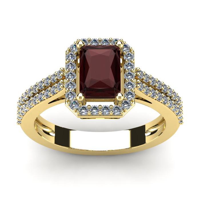 1 3/4 Carat Emerald Cut Garnet and Halo Diamond Ring In 14 Karat Yellow Gold