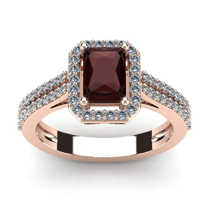 1 3/4 Carat Emerald Cut Garnet and Halo Diamond Ring In 14 Karat Rose Gold