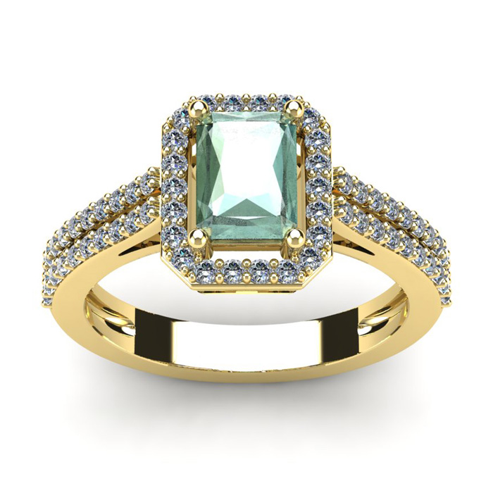 1 1/3 Carat Emerald Cut Green Amethyst and Halo Diamond Ring In 14 Karat Yellow Gold