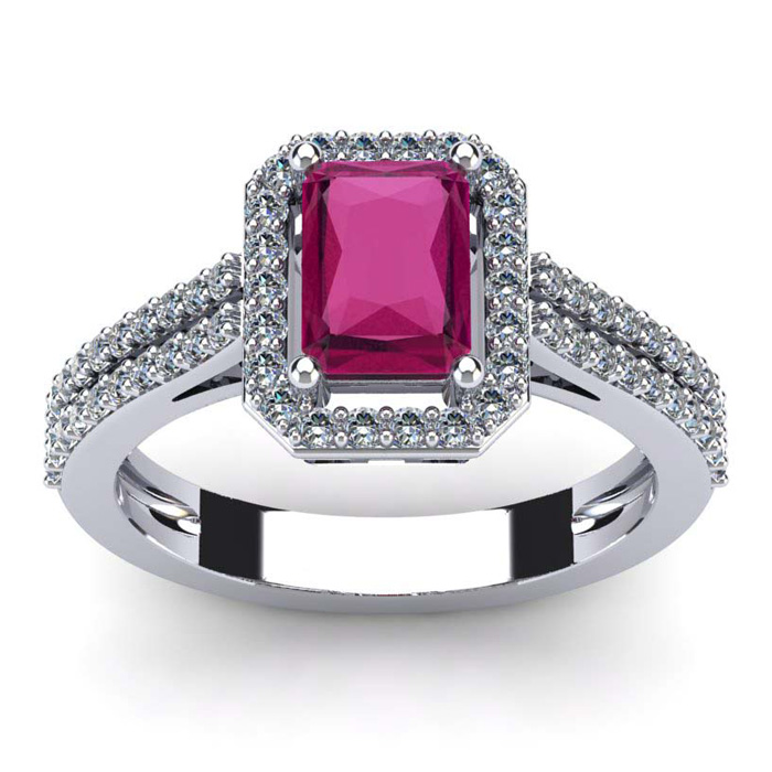 1 1/2 Carat Emerald Cut Ruby and Halo Diamond Ring In 14 Karat White Gold