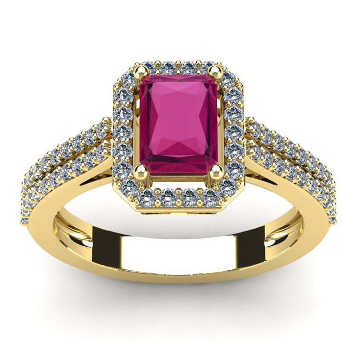 1 1/2 Carat Emerald Cut Ruby and Halo Diamond Ring In 14 Karat Yellow Gold