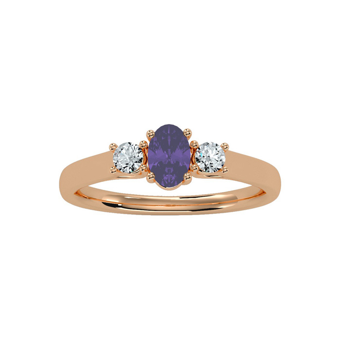 1/2 Carat Oval Shape Amethyst & Two Diamond Ring in 14K Rose Gold