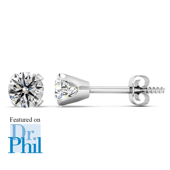 1/2 Carat Diamond Stud Earrings in 14k White Gold (1 Gram), J/K b