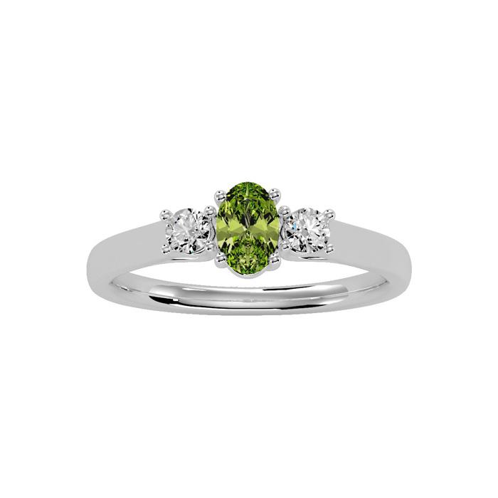 3/4 Carat Oval Shape Peridot & Two Diamond Ring in 14K White Gold