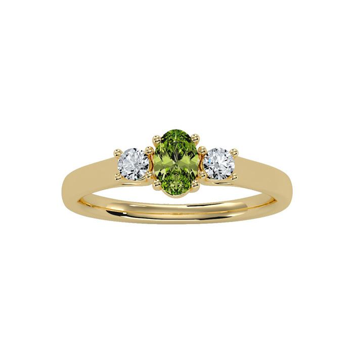 3/4 Carat Oval Shape Peridot & Two Diamond Ring in 14K Yellow Gol