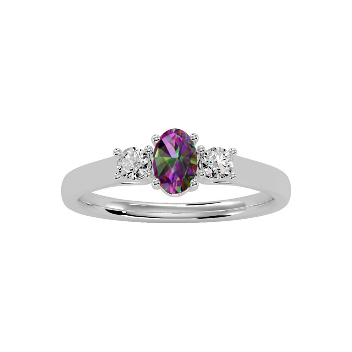 3/4 Carat Oval Shape Mystic Topaz & Two Diamond Ring in 14K White