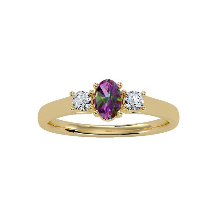 3/4 Carat Oval Shape Mystic Topaz & Two Diamond Ring in 14K Yellow Gold (1.8 g), I/J by SuperJeweler