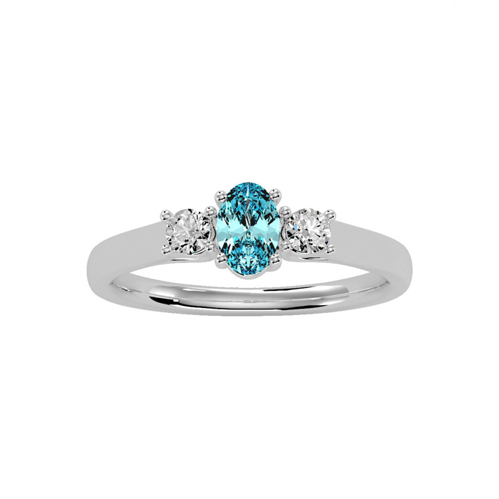 1/2 Carat Oval Shape Aquamarine & Two Diamond Ring in 14K White G
