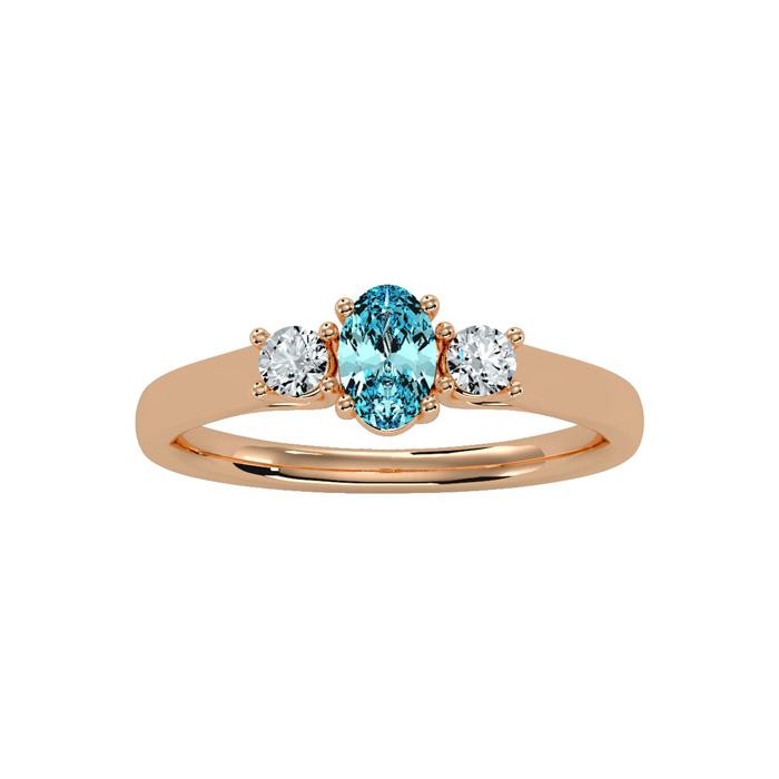 1/2 Carat Oval Shape Aquamarine & Two Diamond Ring in 14K Rose Gold (1.8 g), I/J by SuperJeweler
