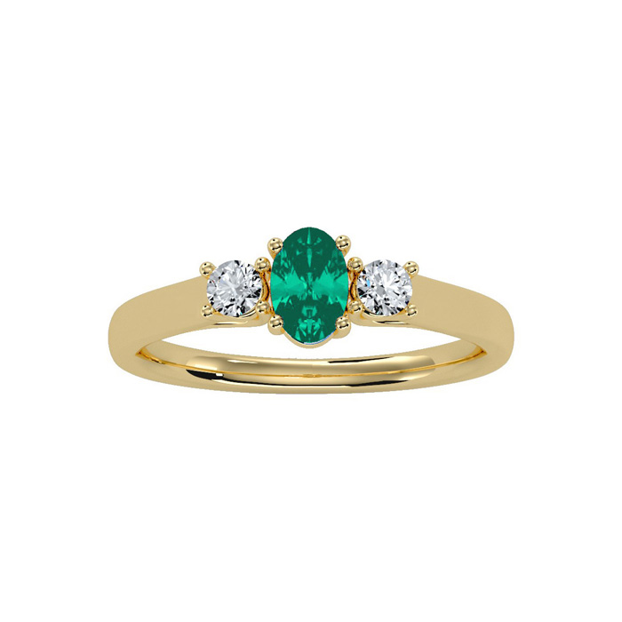 1/2 Carat Oval Shape Emerald Cut & Two Diamond Ring in 14K Yellow Gold (2 g), I/J by SuperJeweler