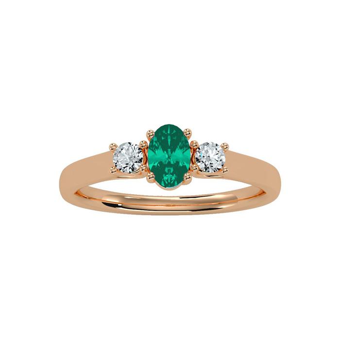 1/2 Carat Oval Shape Emerald Cut & Two Diamond Ring in 14K Rose G