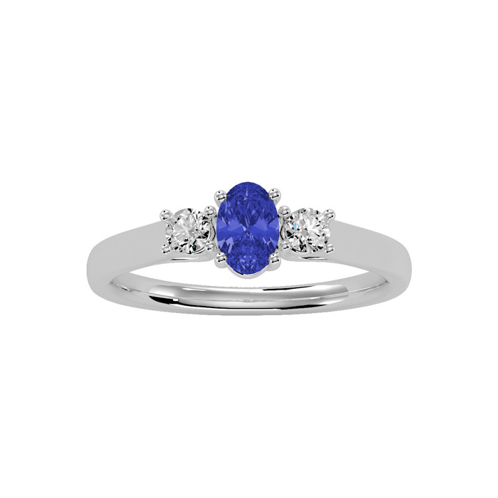 3/4 Carat Oval Shape Tanzanite and Two Diamond Ring In 14 Karat White Gold