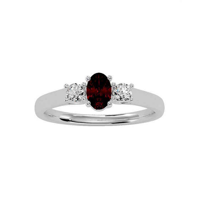 3/4 Carat Oval Shape Garnet and Two