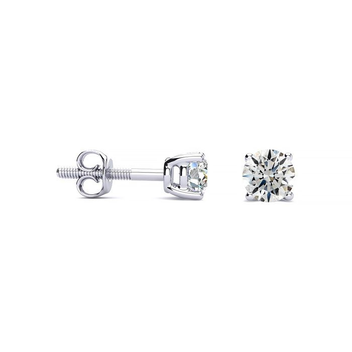 1/2 Carat Diamond Stud Earrings, White Gold, H/I Color, SI1-SI2 C