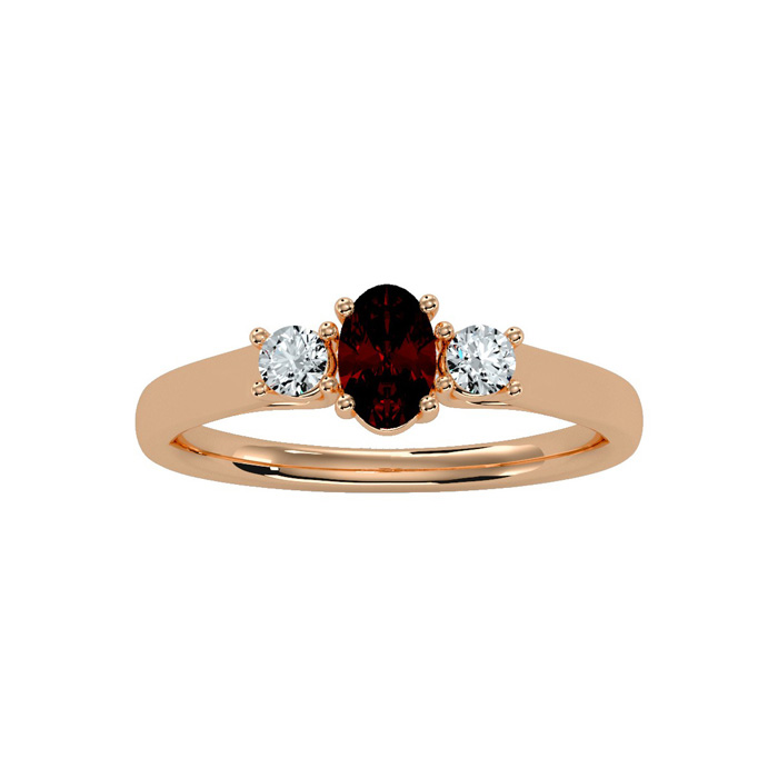 3/4 Carat Oval Shape Garnet & Two Diamond Ring in 14K Rose Gold (