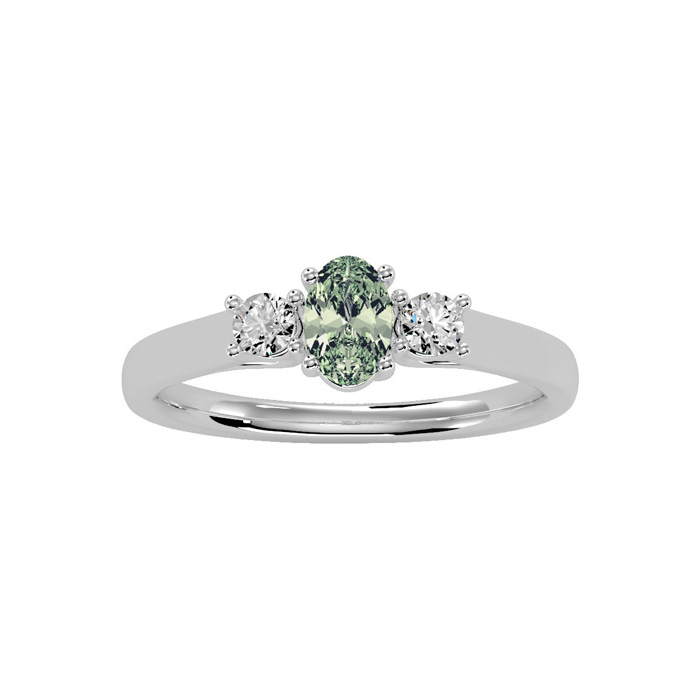 1/2 Carat Oval Shape Green Amethyst & Two Diamond Ring in 14K Whi