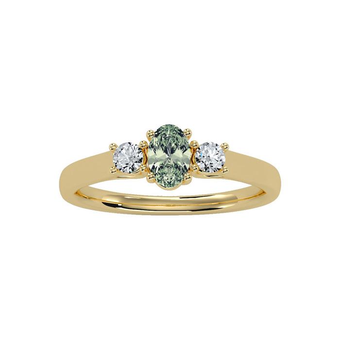 1/2 Carat Oval Shape Green Amethyst & Two Diamond Ring in 14K Yel