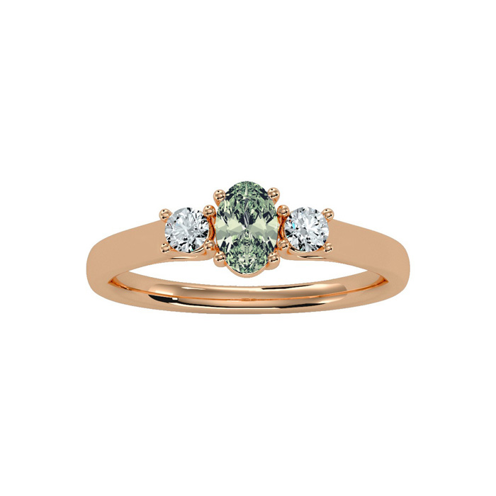 1/2 Carat Oval Shape Green Amethyst & Two Diamond Ring in 14K Ros