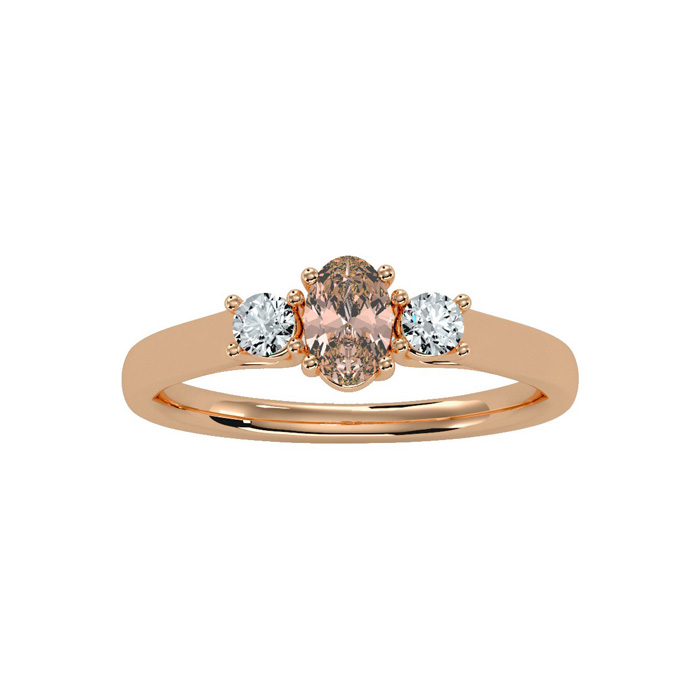 1/2 Carat Oval Shape Morganite & Two Diamond Ring in 14K Rose Gol