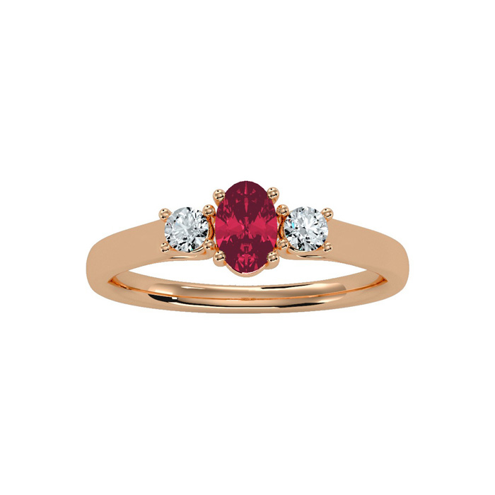 3/4 Carat Oval Shape Ruby and Two