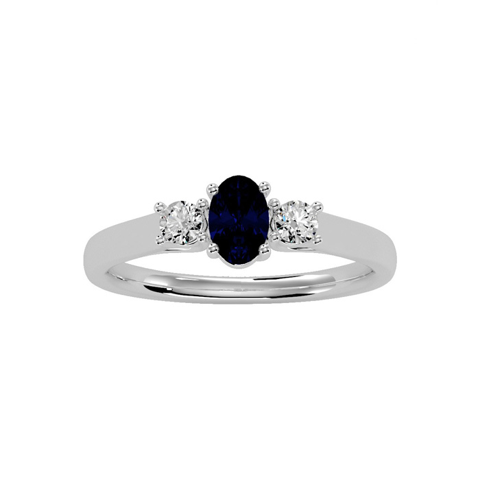 3/4 Carat Oval Shape Sapphire & Two Diamond Ring in 14K White Gold (1.8 g), I/J by SuperJeweler