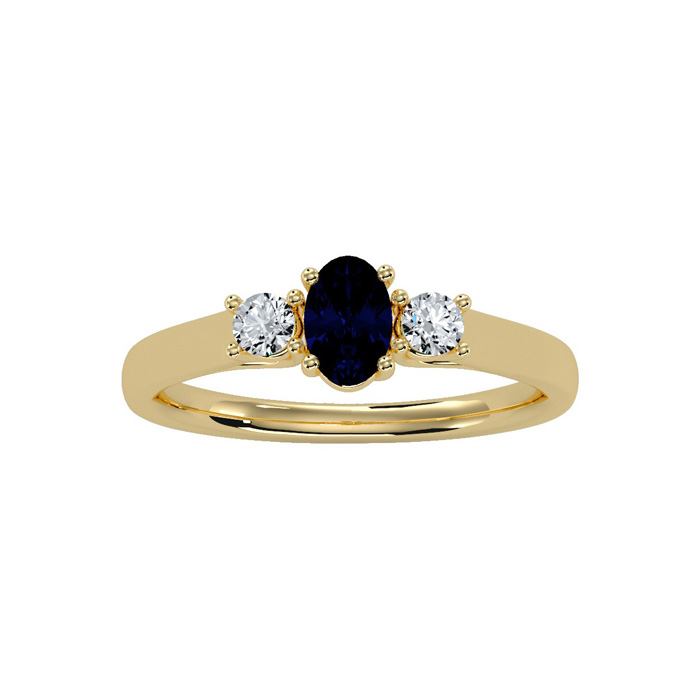 3/4 Carat Oval Shape Sapphire & Two Diamond Ring in 14K Yellow Gold (1.8 g), I/J by SuperJeweler