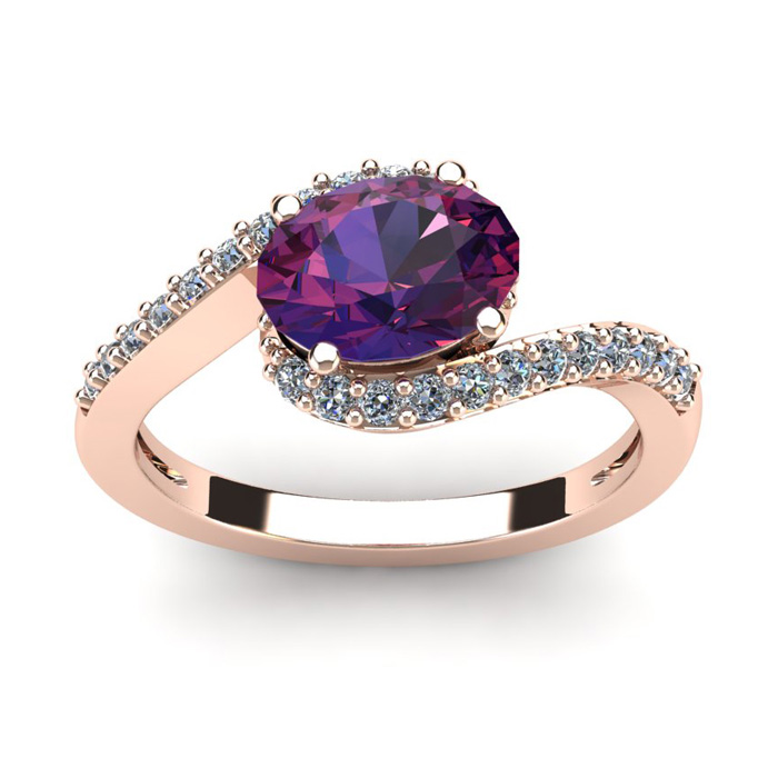 1 1/3 Carat Oval Shape Amethyst and Halo Diamond Ring In 14 Karat Rose Gold