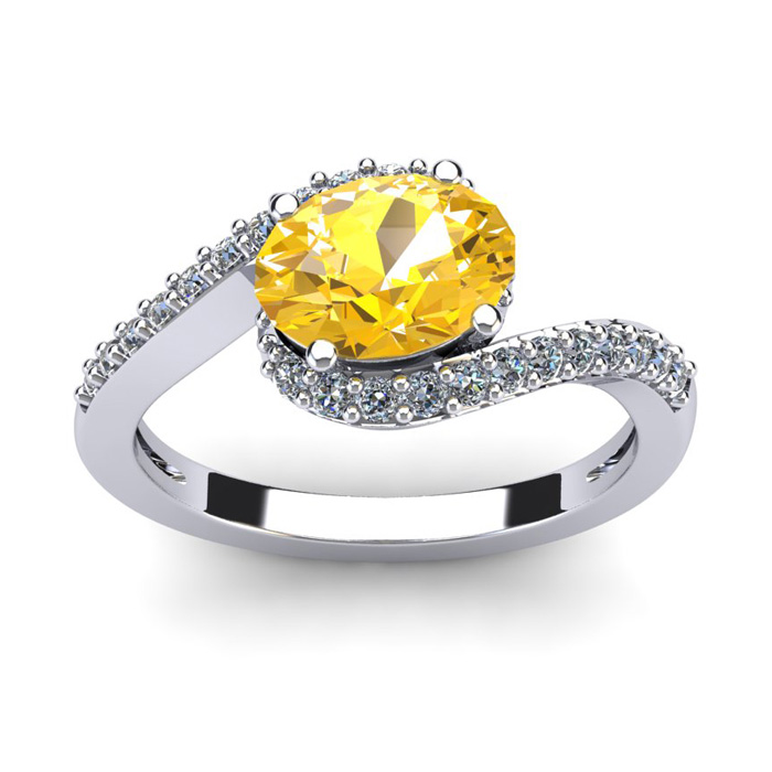 1 1/3 Carat Oval Shape Citrine & Halo Diamond Ring in 14K White G