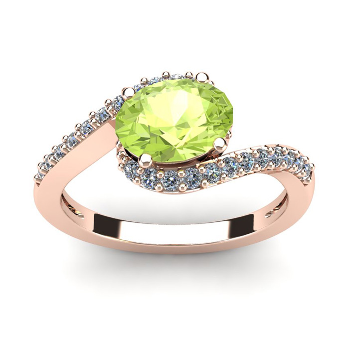 1.5 Carat Oval Shape Peridot & Halo Diamond Ring in 14K Rose Gold