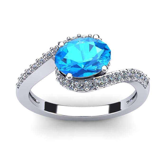 1 3/4 Carat Oval Shape Blue Topaz & Halo Diamond Ring in 14K Whit