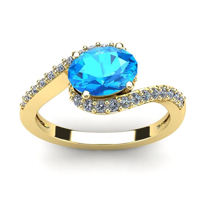 1 3/4 Carat Oval Shape Blue Topaz & Halo Diamond Ring in 14K Yellow Gold (2...