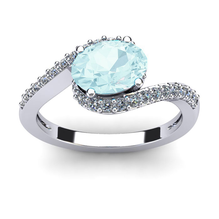 1.5 Carat Oval Shape Aquamarine & Halo Diamond Ring in 14K White