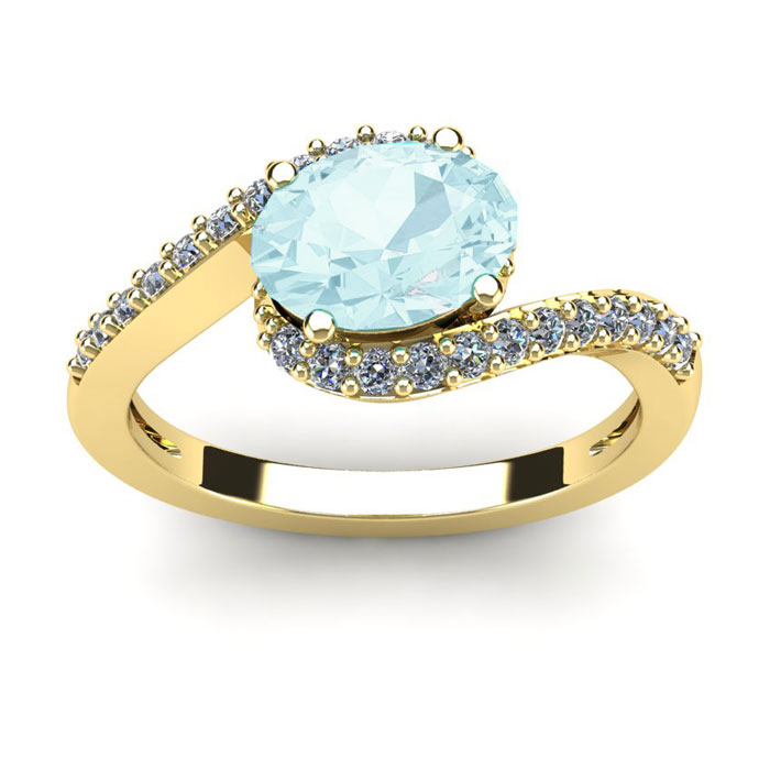 1.5 Carat Oval Shape Aquamarine & Halo Diamond Ring in 14K Yellow