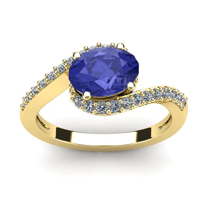 1.5 Carat Oval Shape Tanzanite & Halo Diamond Ring in 14K Yellow