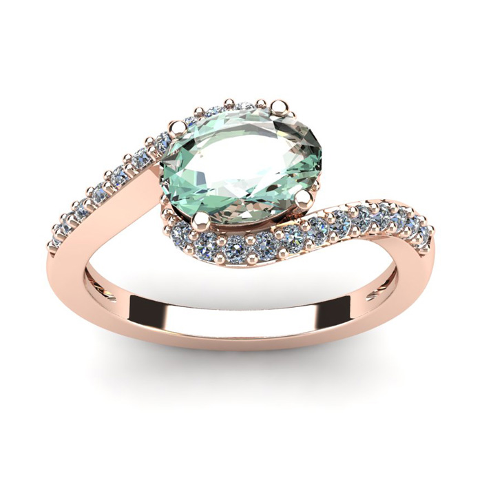 1 1/3 Carat Oval Shape Green Amethyst & Halo Diamond Ring in 14K Rose Gold (2.9 g), I/J by SuperJeweler
