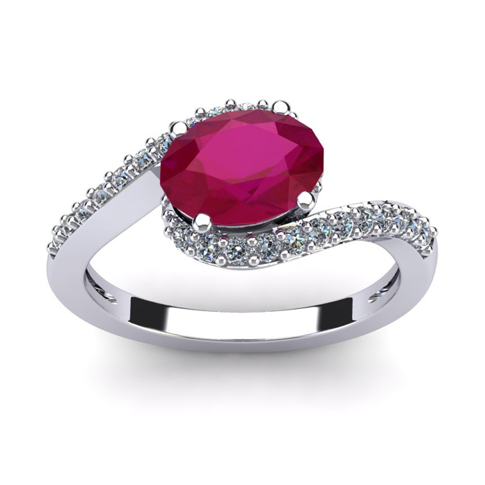 1 3/4 Carat Oval Shape Ruby & Halo Diamond Ring in 14K White Gold