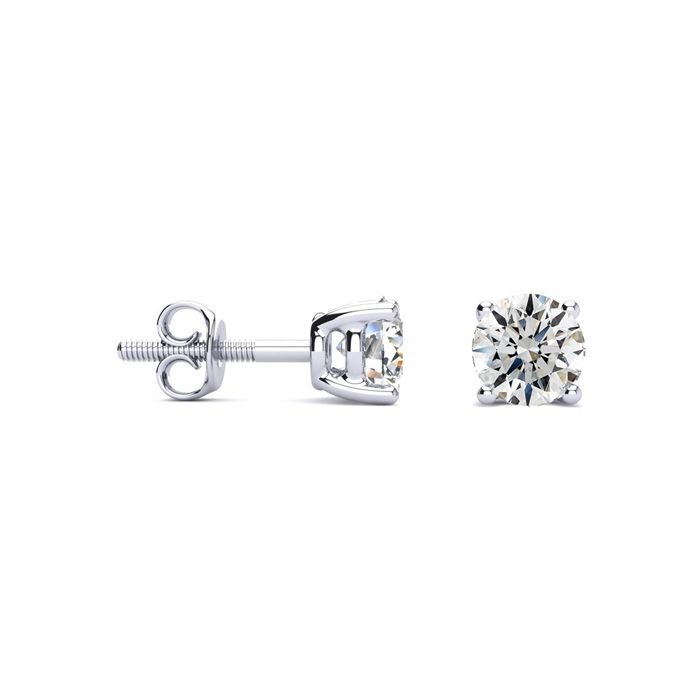 2/3 Carat Diamond Stud Earrings in 14k White Gold, H/I Color, SI1