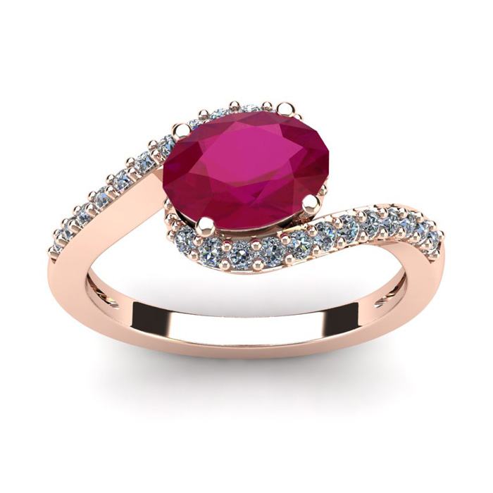 1 3/4 Carat Oval Shape Ruby & Halo Diamond Ring in 14K Rose Gold