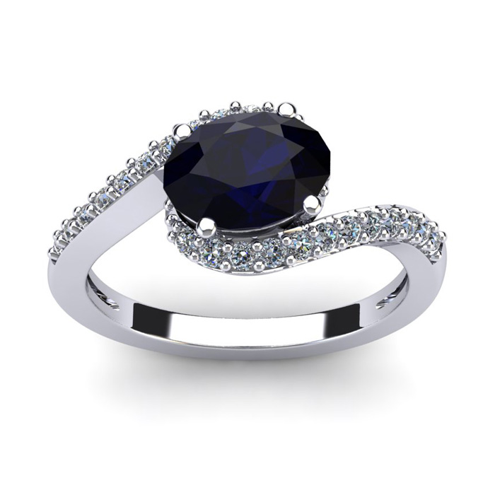 1 3/4 Carat Oval Shape Sapphire & Halo Diamond Ring in 14K White