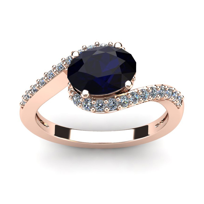 1 3/4 Carat Oval Shape Sapphire & Halo Diamond Ring in 14K Rose Gold (2.9 g), I/J by SuperJeweler