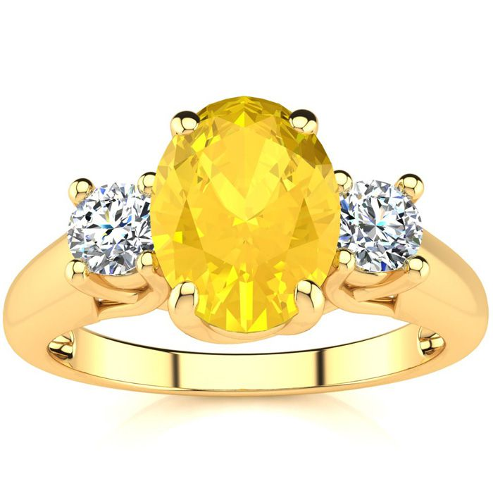 1.25 Carat Oval Shape Citrine & Two Diamond Ring in 14K Yellow Go