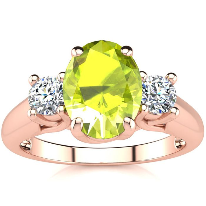 1.5 Carat Oval Shape Peridot & Two Diamond Ring in 14K Rose Gold (3.1 g), I/J by SuperJeweler