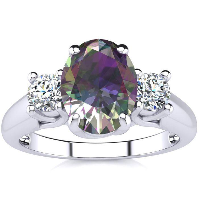 1 3/4 Carat Oval Shape Mystic Topaz & Two Diamond Ring in 14K Whi