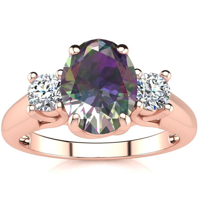 1 3/4 Carat Oval Shape Mystic Topaz & Two Diamond Ring in 14K Ros
