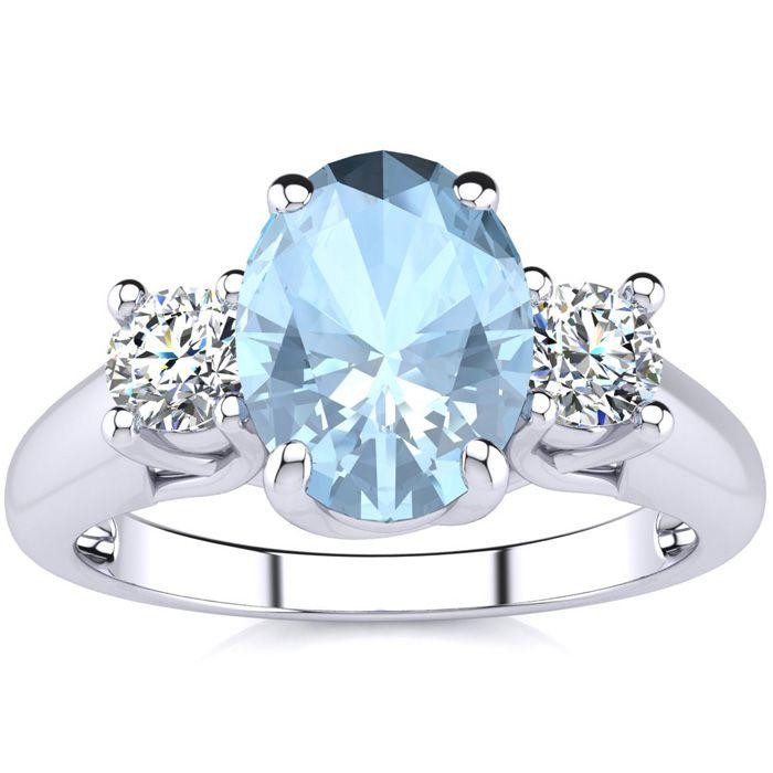 1 1/3 Carat Oval Shape Aquamarine & Two Diamond Ring in 14K White