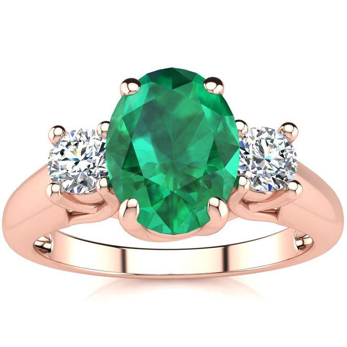 1 1/3 Carat Oval Shape Emerald Cut & Two Diamond Ring in 14K Rose