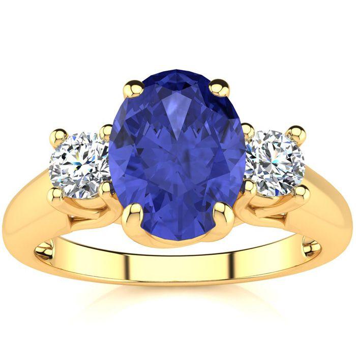 1.5 Carat Oval Shape Tanzanite & Two Diamond Ring in 14K Yellow G