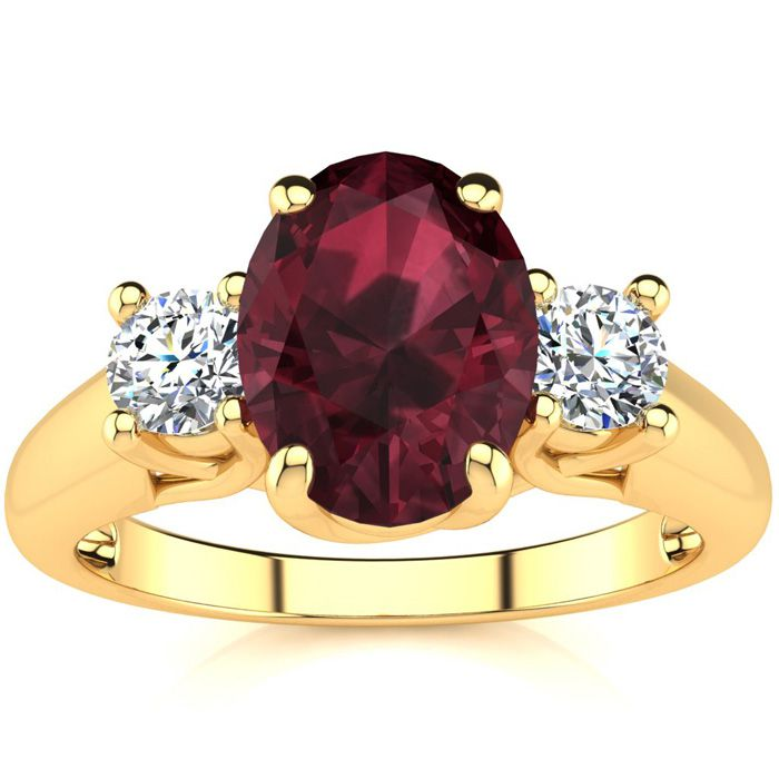 1 3/4 Carat Oval Garnet & Two Diamond Ring in 14K Yellow Gold (3.